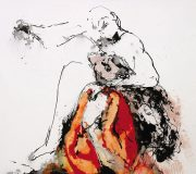 APART OF ME _ figure with animal, (2003) 100 x 120 cm (39 x 47 inch)