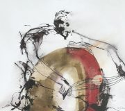 APART OF ME : figure playing with strings, (2005) 110 x 130 cm (43 x 51 inch)