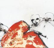 APART OF ME : figures and orange form, (1990), 70 x 180 cm (28 x 71 inch)